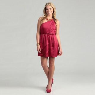 BCBG Women's Red One-shoulder Ruffle Dress