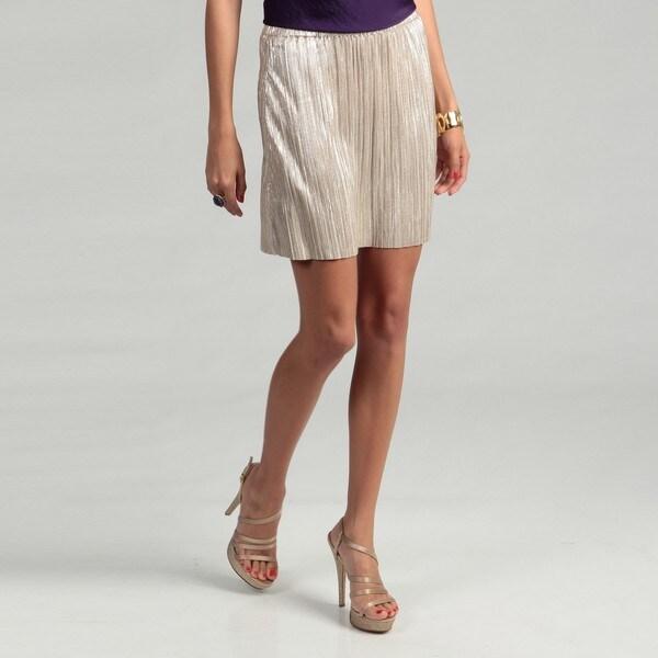 BCBG Generation Women's Gold Pleated Skirt