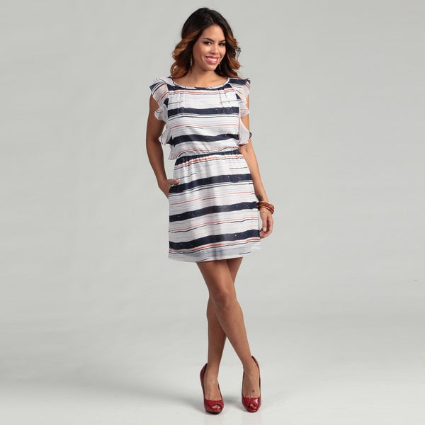 BCBG Generation Women's Galaxy Ruffle Sleeve Dress