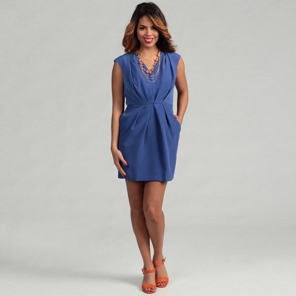 BCBG Generation Women's Azure Cap Sleeve Pleated Dress