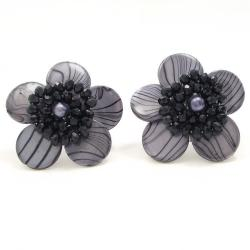 Sweet Daisy Gray Zebra Painted Mother of Pearl Clip On Earrings (Thailand)