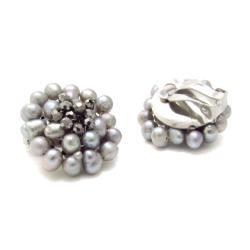 Silver Elegance Freshwater Pearl Chrysanthemum Clip On Earrings (Thailand)