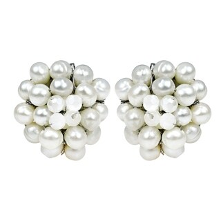 Handmade White Freshwater Pearl Chrysanthemum Earrings