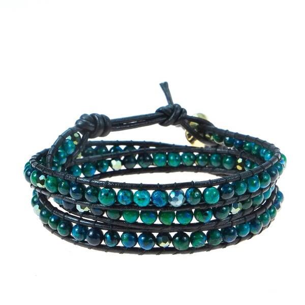 Handmade Green Forest Malachite/ Multi/ White Turquoise Triple Wrap Leather Bracelet (Thailand)