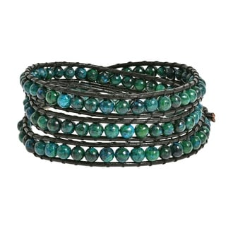 Handmade Green Forest Malachite/ Multi/ White Turquoise Triple Wrap Leather Bracelet (Thailand)