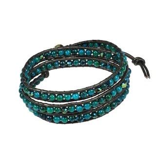 Handmade Green Clover Round Malachite Stones 3-Wrap Leather Bracelet (Thailand)