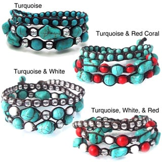 Handmade Blue Turquoise Gemstone Triple-Wrap Cotton Rope Tribal Bracelet (Thailand)