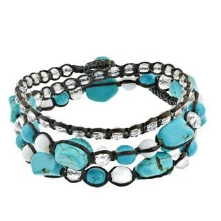 Handmade Blue Turquoise Gemstone Triple-Wrap Cotton Rope Tribal Bracelet (Thailand)