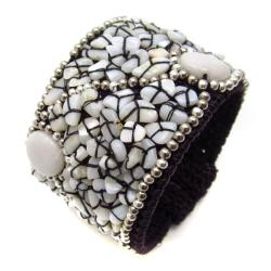 Handmade White Oval Milky Quartz and Mother of Pearl Mosaic Cotton Rope Cuff (Thailand)