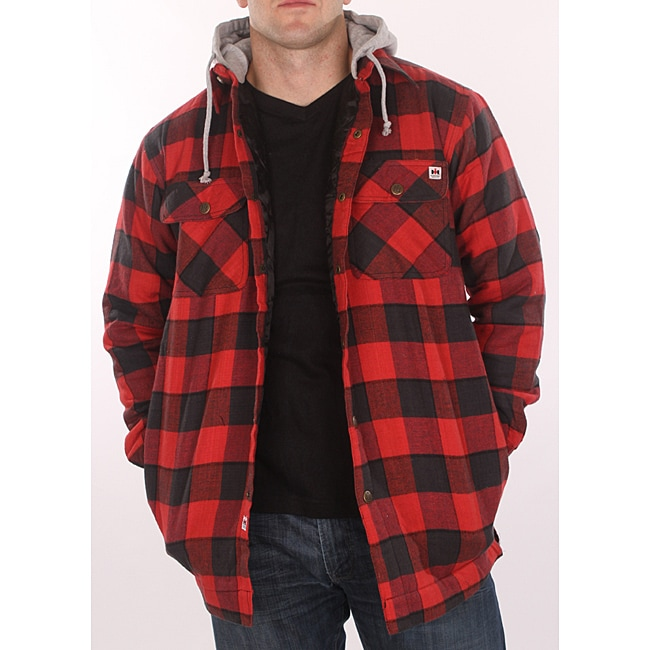 Flannel Motorcycle Jacket >> Farmall IH Men's Red Plaid Hooded Flannel Jacket - Free ...