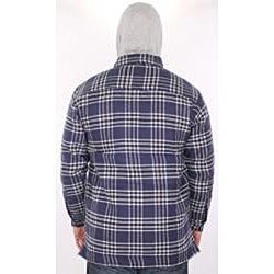 Farmall IH Men's Navy Plaid Hooded Flannel Jacket - Thumbnail 1