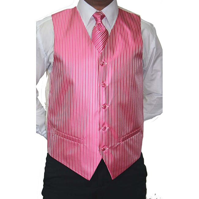 Ferrecci Pink Four-piece, Five-button Suit or Tux Vest Set for Men