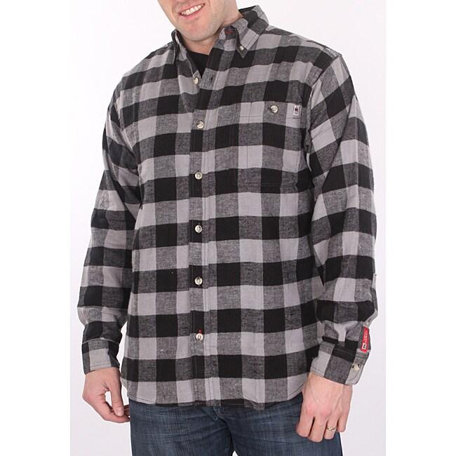 Farmall ih men 39 s black plaid flannel shirt free shipping for Black plaid shirt mens
