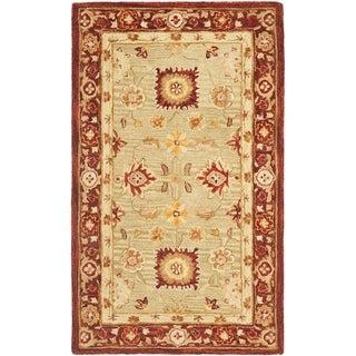 Safavieh Handmade Anatolia Oriental Farahan Sage Green/ Burgundy Hand-spun Wool Rug (3' x 5')