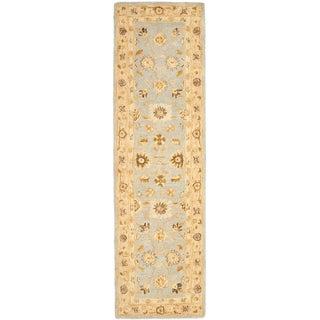Safavieh Handmade Anatolia Farahan Light Blue/ Sage Wool Rug (2'3 x 10')