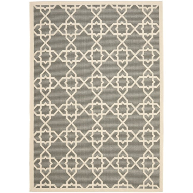 Safavieh Courtyard Geometric Trellis Grey/ Beige Indoor/ Outdoor Rug (9' x 12')
