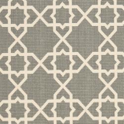 Safavieh Courtyard Geometric Trellis Grey/ Beige Indoor/ Outdoor Rug (9' x 12') - Thumbnail 2