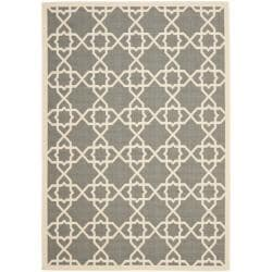 Safavieh Courtyard Geometric Trellis Grey/ Beige Indoor/ Outdoor Rug (9' x 12')