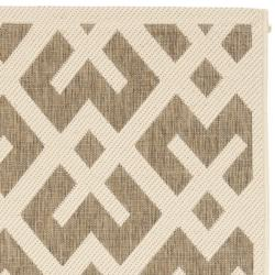 "Safavieh Courtyard Contemporary Brown/ Bone Indoor/ Outdoor Rug (2'4"" x 9'11"") - Thumbnail 1"