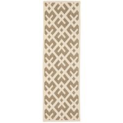 "Safavieh Courtyard Contemporary Brown/ Bone Indoor/ Outdoor Rug (2'4"" x 9'11"")"