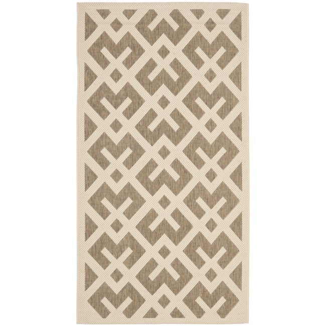 Safavieh Courtyard Contemporary Brown/ Bone Indoor/ Outdoor Rug (2'7 x 5') - Thumbnail 0