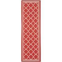 Safavieh Poolside Indoor/ Outdoor Red/ Bone Runner Rug - 2'4 x 9'11