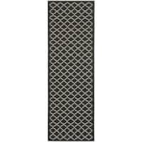 Safavieh Poolside Black/ Beige Indoor Outdoor Rug (2'4 x 9'11) - 2'4 x 9'11