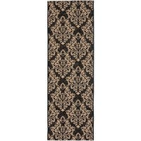 "Safavieh Poolside Black/ Cream Indoor Outdoor Rug - 2'3"" x 6'7"""