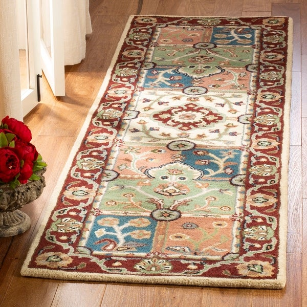 "Safavieh Handmade Heritage Timeless Traditional Multi/ Red Wool Rug - 2'3"" x 12'"