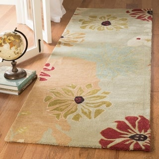 Safavieh Handmade Chatham Garden Blue New Zealand Wool Rug (2'6 x 10')
