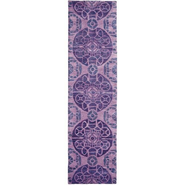 Safavieh Handmade Chatham Treasures Purple New Zealand Wool Rug (2'3 x 9')