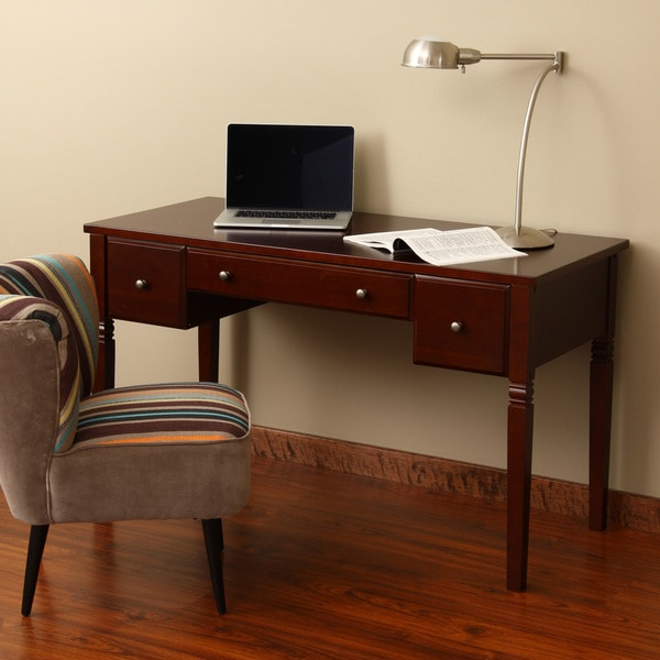 Cami Cherry 3 Drawer Writing Desk Free Shipping Today