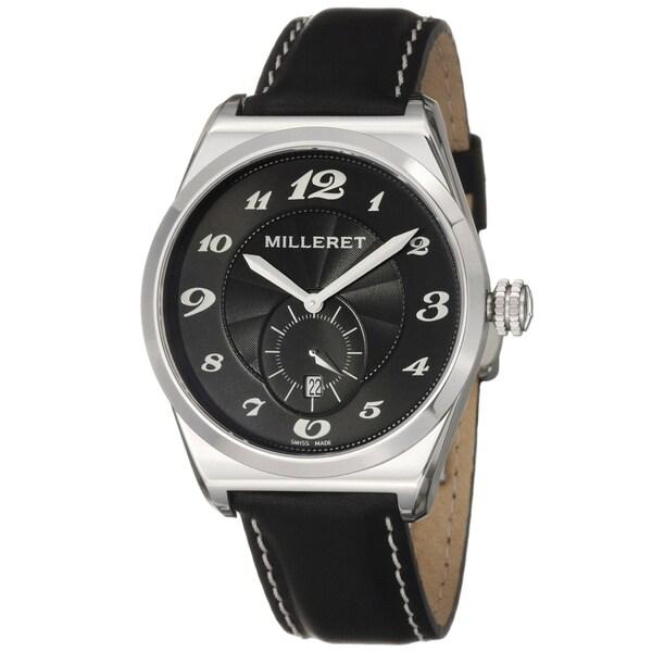 Milleret Men's 'XXL' Stainless-Steel Black White-Stitching Leather Quartz Watch