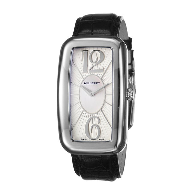 Milleret Women's 'Gala' Stainless Steel Quartz Black Leather Watch