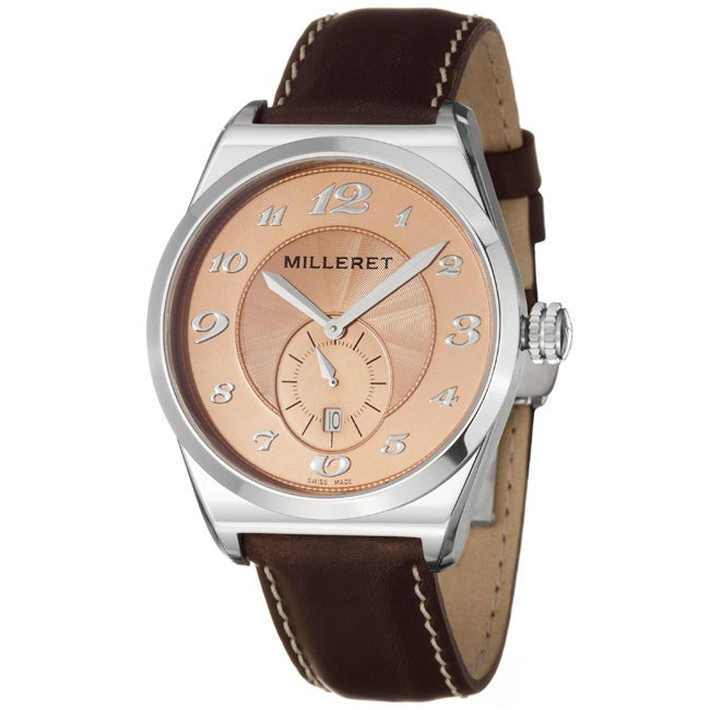 Milleret Men's 'XXL' Stainless Steel Brown Cream Stitching Leather Watch - Thumbnail 0