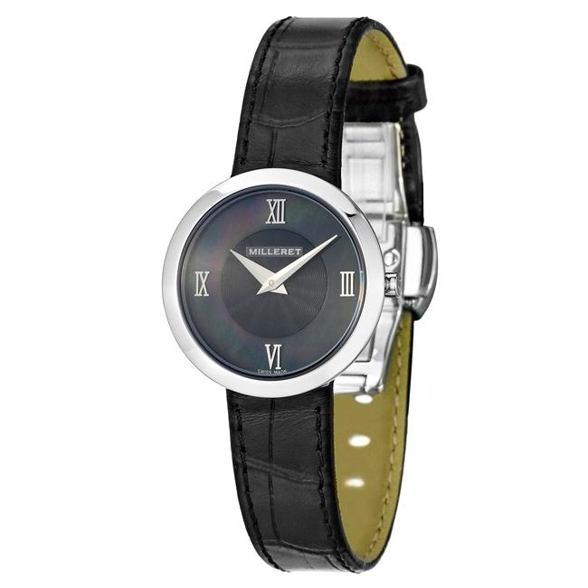 Milleret Women's 'Open' Stainless Steel Black Leather Watch