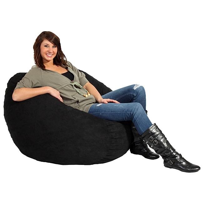 FufSack Black Microfiber 3-foot Bean Bag Chair