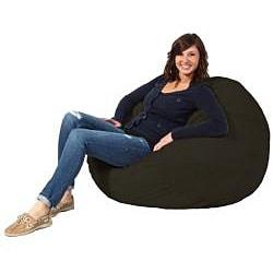 FufSack Black Microfiber 3-foot Bean Bag Chair - Thumbnail 1