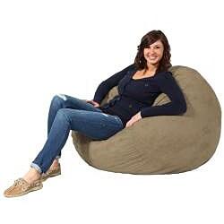 FufSack Tan Microfiber 3-foot Bean Bag Chair - Thumbnail 1