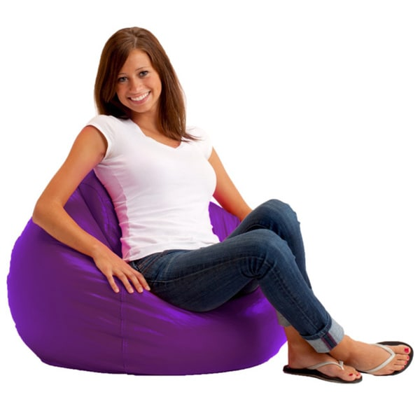 Beansack Ultra Purple Vinyl Lounge Bean Bag Chair Free