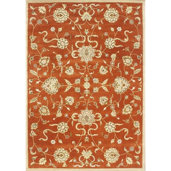 Alliyah Handmade Rusty Orange New Zealand Blend Wool Rug (10' x 14')