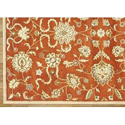 Alliyah Handmade Rusty Orange and Gold New Zealand Blend Wool Rug (9' x 12')