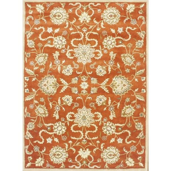 Alliyah Handmade Rusty Orange and Gold New Zealand Blend Wool Rug - 9' x 12'