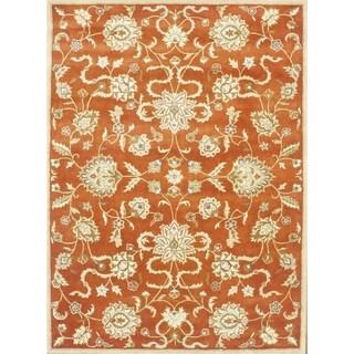 Alliyah Handmade Rusty Orange and Gold New Zealand Blend Wool Rug (9' x 12')