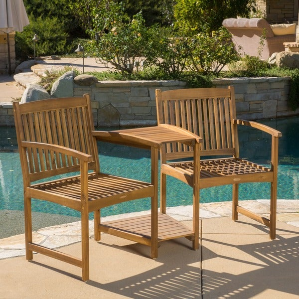 carolina deluxe acacia wood adjoining chairs by christopher knight home free shipping today