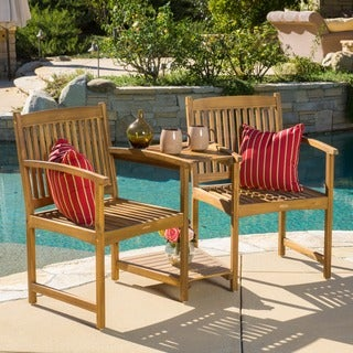 Carolina Deluxe Acacia Wood Adjoining Chairs by Christopher Knight Home