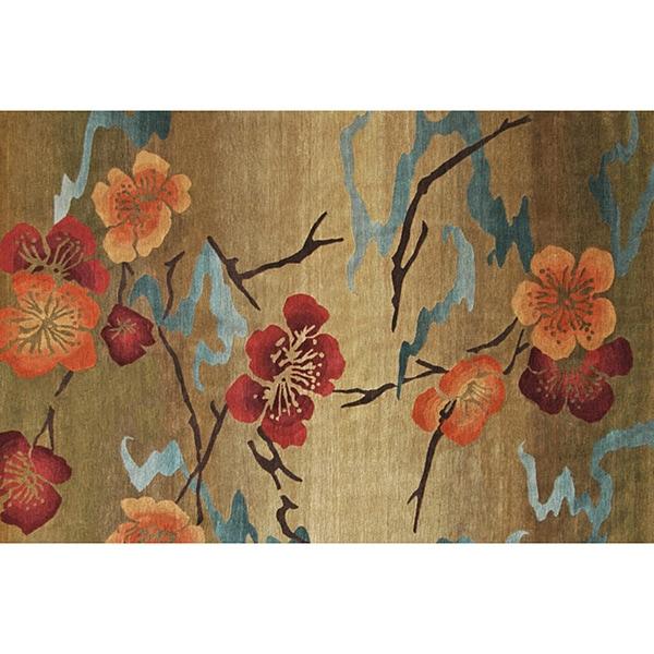 Shop Handmade Gold 5' X 7' Kimono Wool Rug (India)