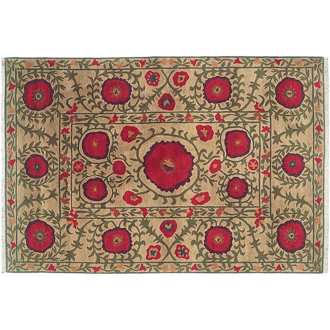 Beige 8' x 10' Poppies Wool Rug (India)