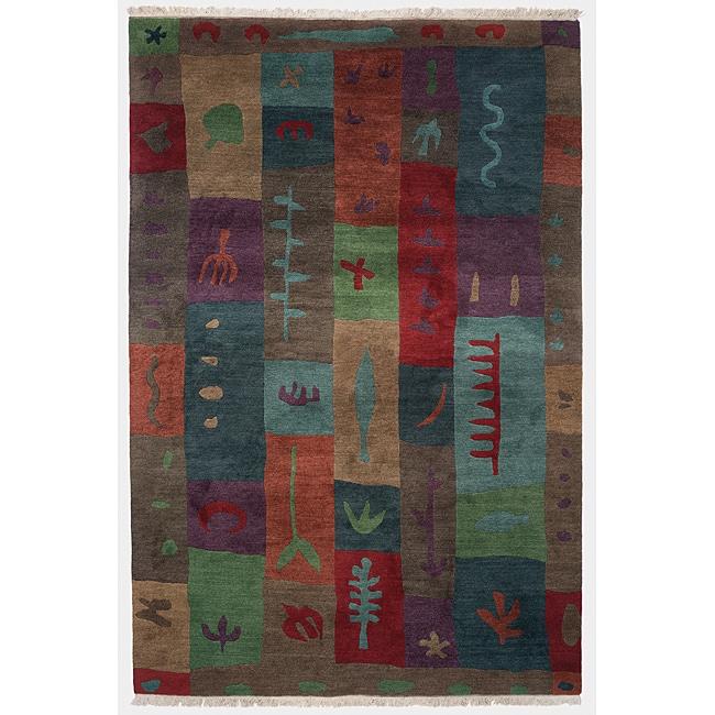 5' x 7' Block Print Wool Rug (India)