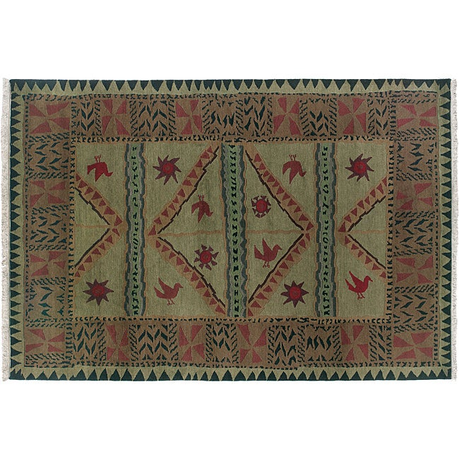 Olive 4' x 6' Sundial Wool Rug (India) - Thumbnail 0